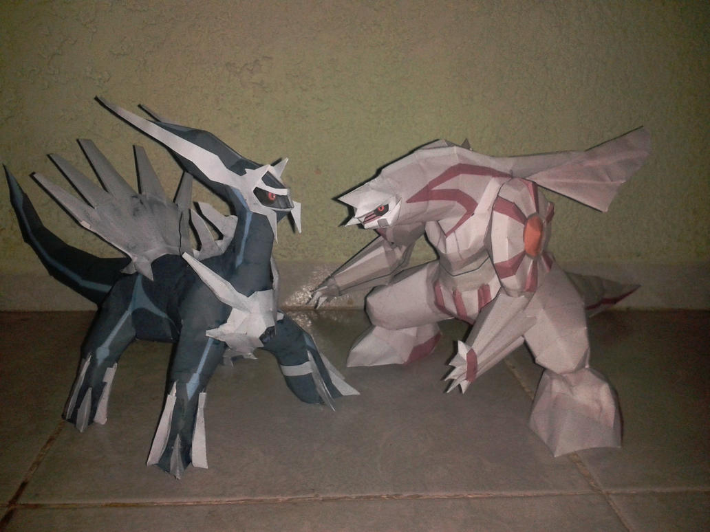 dialga and plakia  papercraft finished by javierini