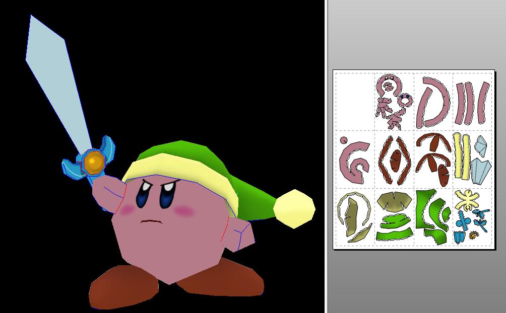 Kirby Zelda papercraft (? by javierini