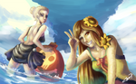 Commission: Pool Party Leona and Diana