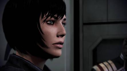 Mass Effect 3: FemShep watching the news