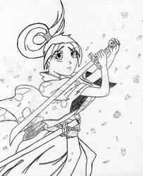 Hoshiko with katana