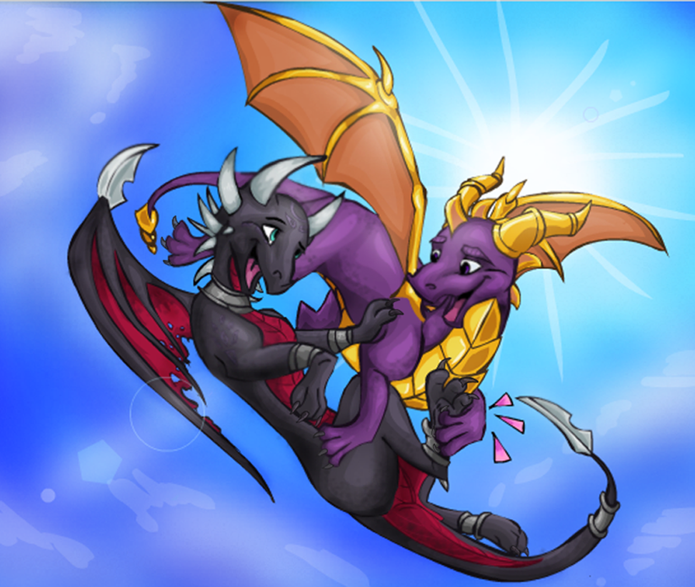 Commision Spyro and Cynder resized by Bluepisces97