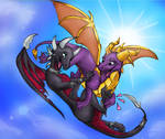 Commision Spyro and Cynder resized