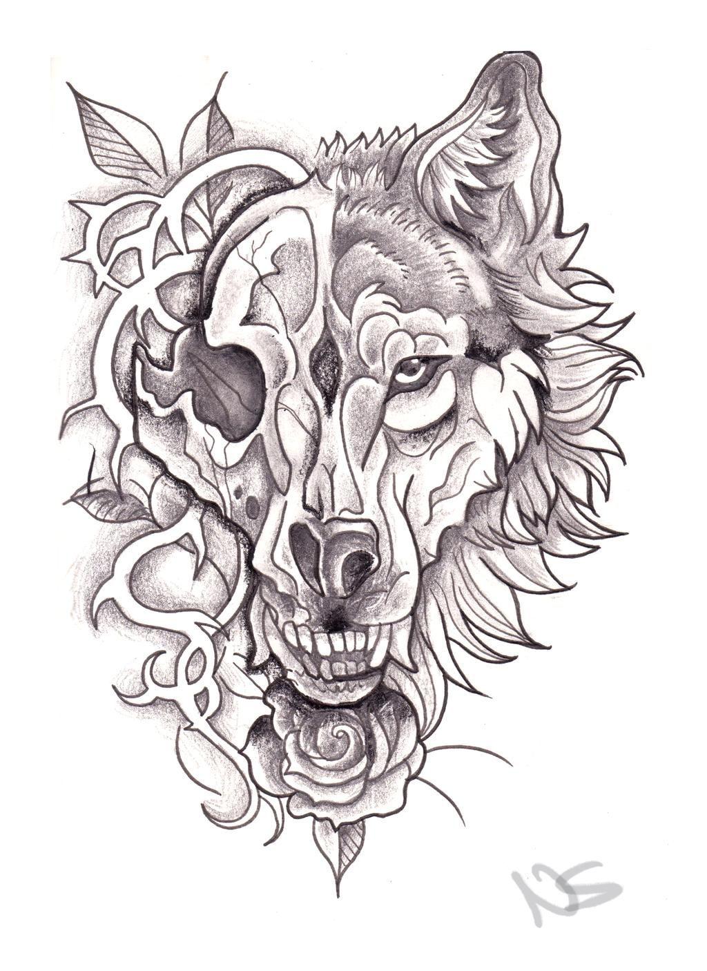 neo traditional wolf skull design by bluepisces97 on deviantart. Black Bedroom Furniture Sets. Home Design Ideas