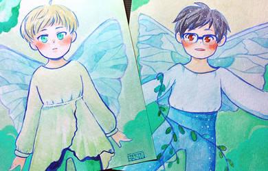 YOI - Fairy Yuuri and Yurio Watercolour