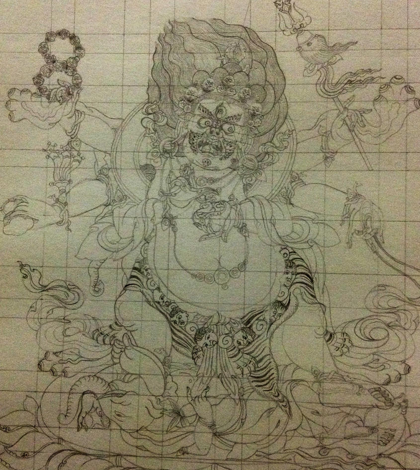 6 Arms Mahakala Sketch By Manriquexx On DeviantArt