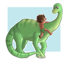 A dinosaur and a boy