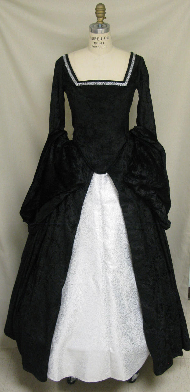 Black and Silver Tudor Gown by Sphinxfeather