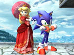 Go Red Team! Princess Peach and Sonic the Hedgehog