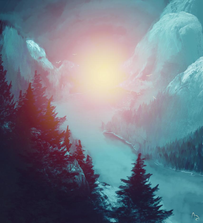 Speedpaint- brush test- Winter landscape by Xigaiary