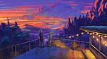 Romantic couple in sunset
