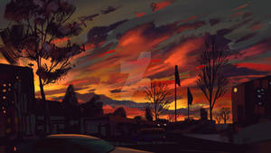 illustration beautiful sunset sky
