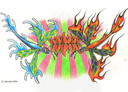 dragonfly fire and water - dragonfly tattoo