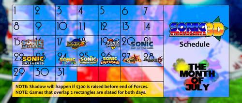 Calendar for Sonic 3DXtravaganza