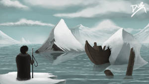 A fisher in snowland / Digitalpaint by DwRPainting