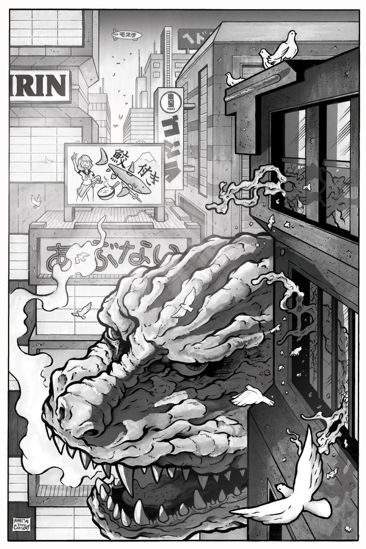 Godzilla spys hiding Hedorah by aaronjohngregory