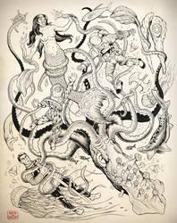 Giant Squid Tattoo Design Comission