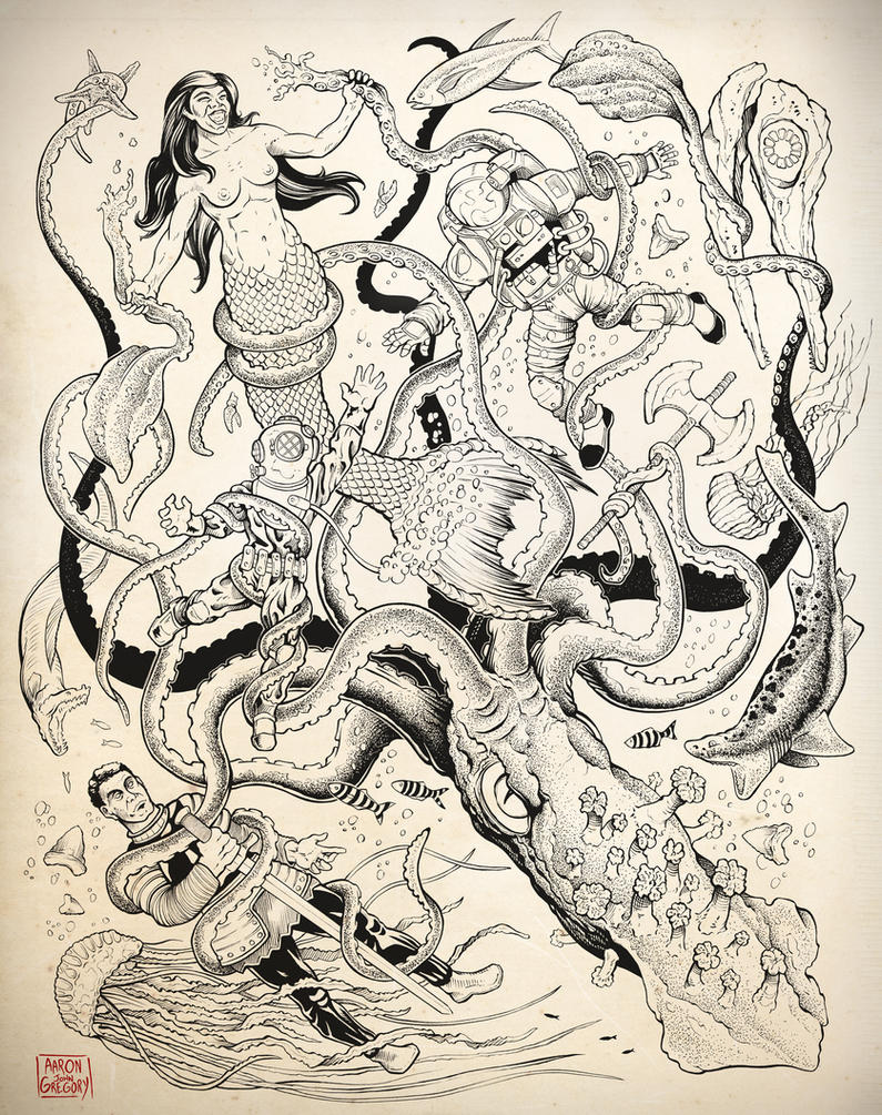 Giant Squid Tattoo Design Comission by aaronjohngregory