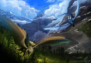 Flight through Banff