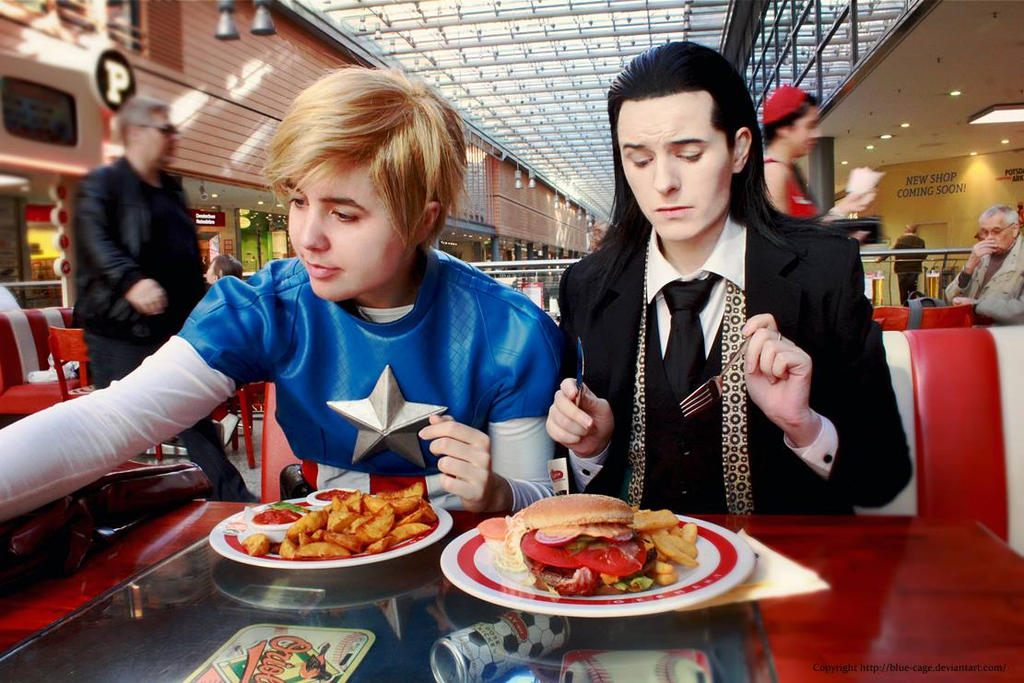 Steve and Loki having Dinner by blue-cage