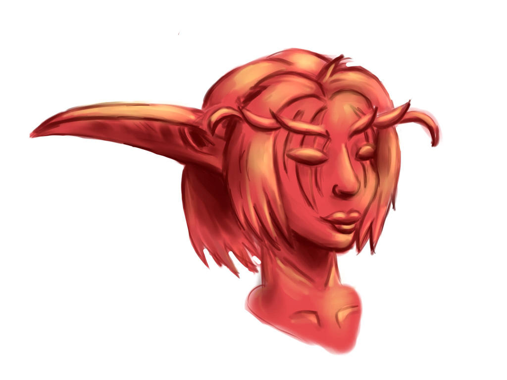 Clay Night Elf Bust by Nedemai
