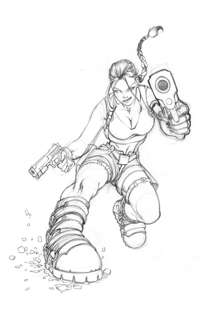 Lara Croft Promo Sketch by Rusty001