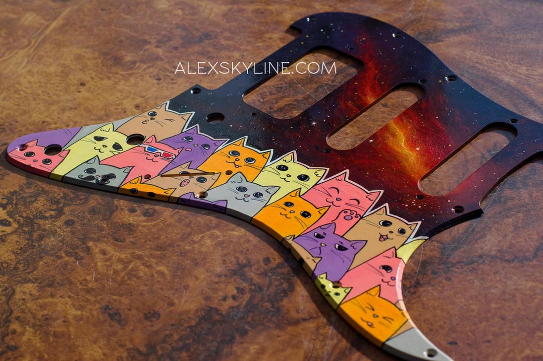 Space Kitties custom pickguard I by alexskyline