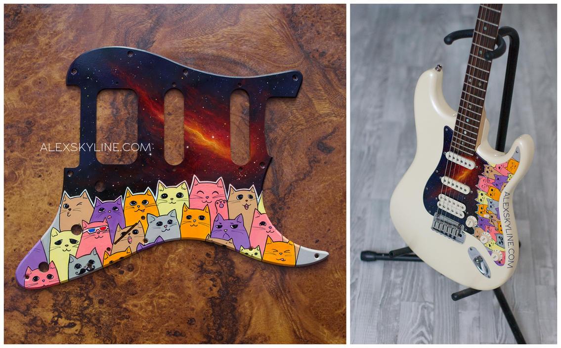 Space Kitties custom pickguard II by alexskyline