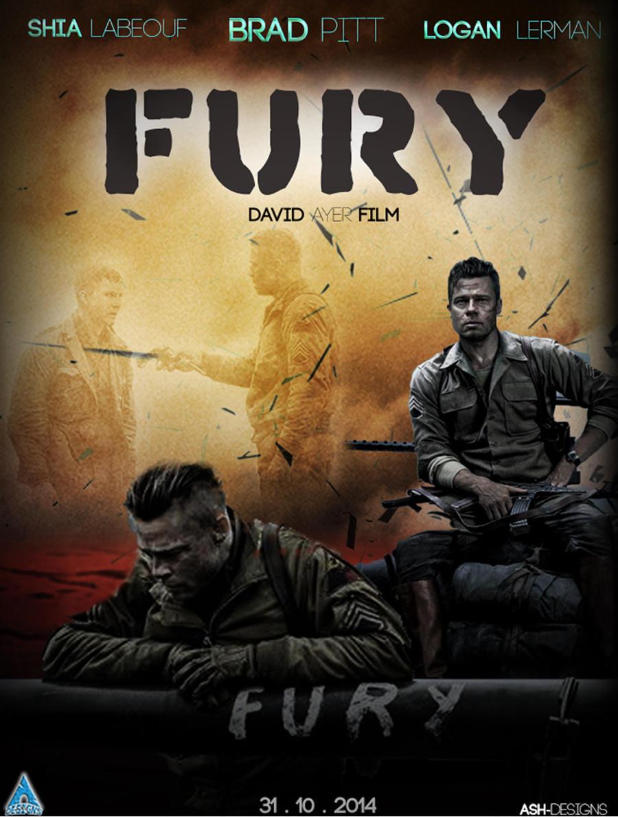 FURY BRAD PITT WAR ORIGINAL 2014 CINEMA FILM MOVIE PRINT PREMIUM POSTER