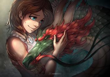 Hugging the Dragon by KawaINDEX