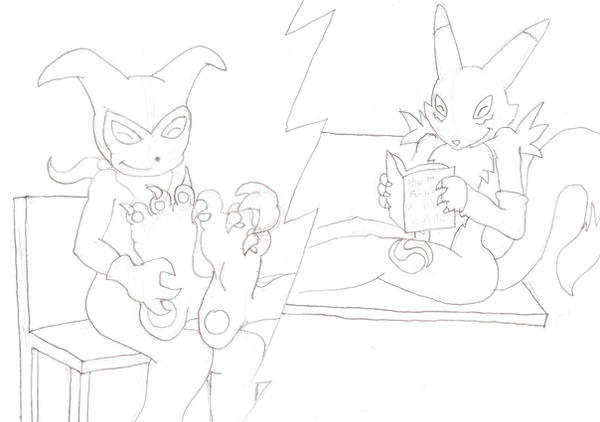 Impmon and Renamon footplay by zp92