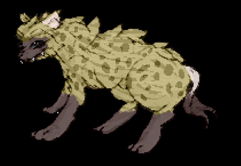 Pixel Spotted Hyena (Bigger ver.) by CrimsonVampiress