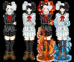 VK OCs : Yin Taiyo and Yang Tsuki by CrimsonVampiress