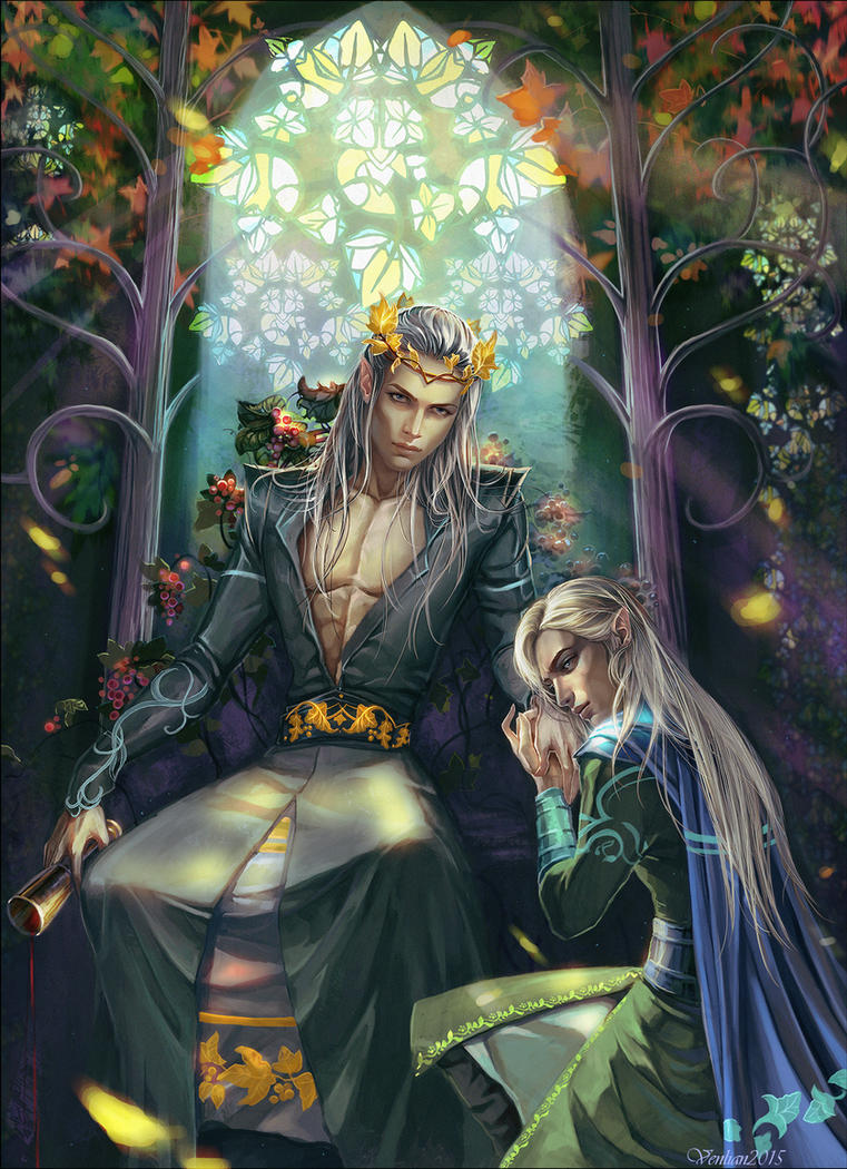 Thranduil With His Son Legolas by Venlian