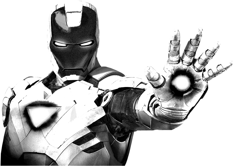 Black and white iron man suit
