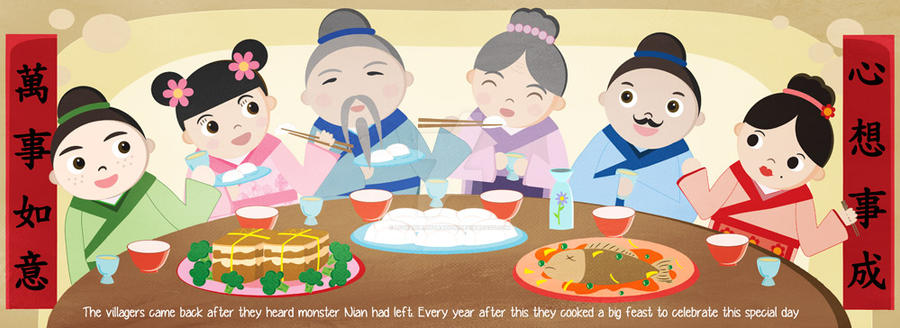 chinese new year dinner illustration by livwanillustration - Chinese New Year Dinner