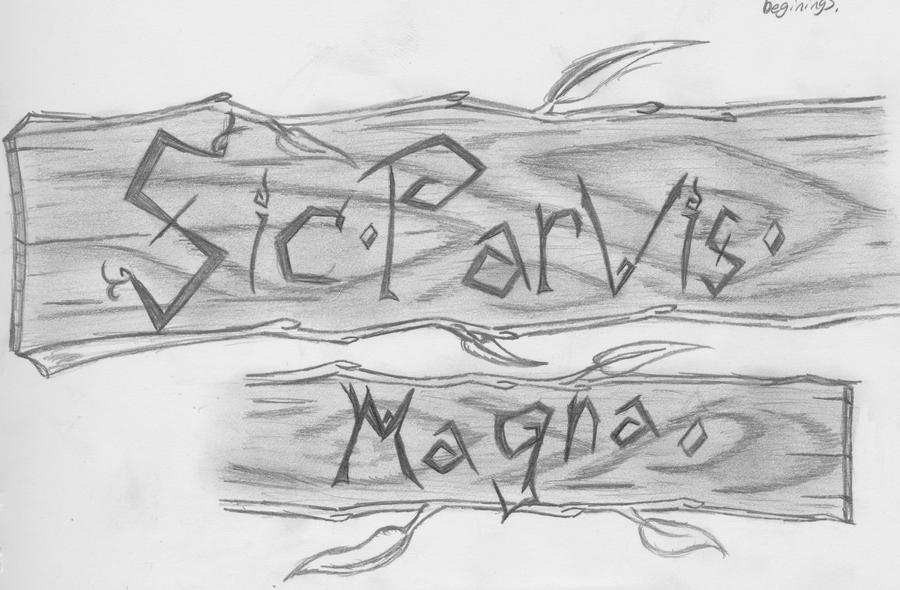 Sic Parvis Magna Arm wrap tattoo by Wolvanart