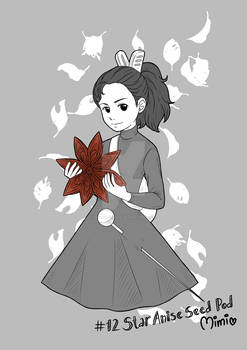 .inktober day 12 - star anise seed pod / arrietty