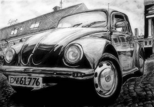Volkswagen Beetle - charcoal drawing