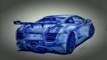 lamborghini aventador ball point pen drawing