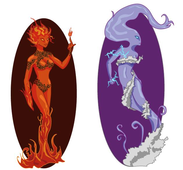 Fire and Air Elementals by MayuMerisiel