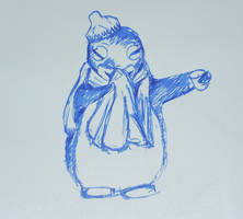 a penguin who has a cold