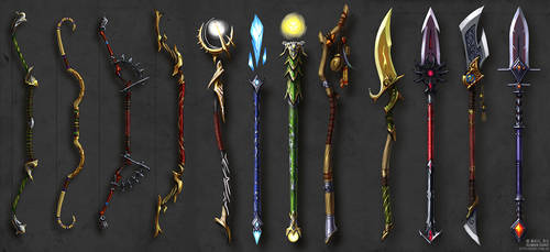 Bows, Staves and Spears concept