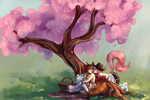 picnic by the sakura tree