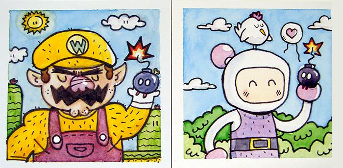 Wario vs Bomberman by MattKaufenberg