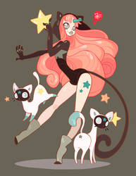 CatStar and her Ghost Cats by MeoMai
