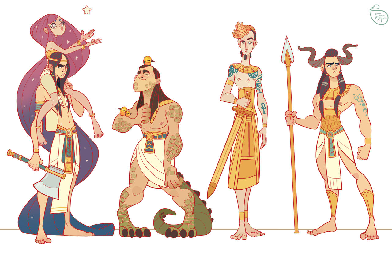 Cartoon 5 Characters : Character design egyptian gods by meomai on deviantart
