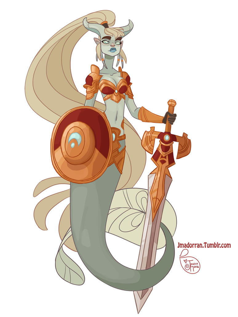 Character Design Artist Resource : Character design draenei paladin mermaid by meomai on