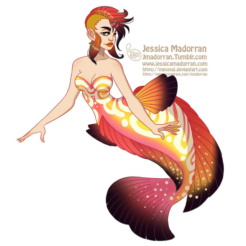 MerMay Day 18 - Discus Fish Mermaid by MeoMai