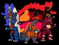 Monster Trinity Reborn by Burninggodzillalord